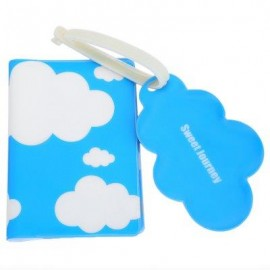 image of 2PCS CLOUD LETTER EMBELLISHMENT OPEN PASSPORT LUGGAGE TAG FOR WOMEN (BLUE) ??