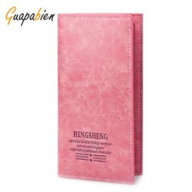 image of GUAPABIEN SOLID COLOR LETTER EMBELLISHMENT SOFT OPEN LONG VERTICAL WALLET FOR MEN WOMEN -