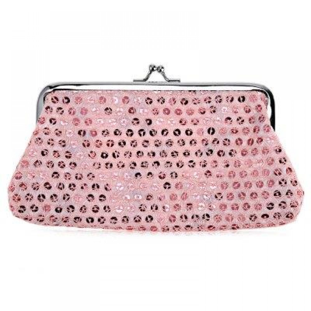 SEQUINS WOMEN POLYESTER LONG WALLET FASHIONABLE HASP BUCKLE PURSE (PINK) -