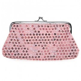 image of SEQUINS WOMEN POLYESTER LONG WALLET FASHIONABLE HASP BUCKLE PURSE (PINK) -