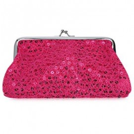 image of SEQUINS WOMEN POLYESTER LONG WALLET FASHIONABLE HASP BUCKLE PURSE (ROSE) -