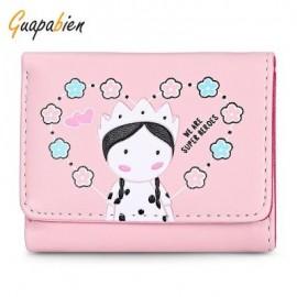 image of GUAPABIEN FOLDABLE SHORT CLUTCH WALLET GIRLS CARD HOLDER (PINK) -