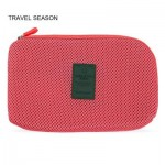 TRAVEL SEASON PORTABLE COSMETIC BAGS POWER CABLE STORAGE POUCH (RED) -