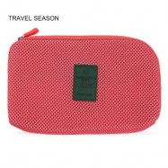 image of TRAVEL SEASON PORTABLE COSMETIC BAGS POWER CABLE STORAGE POUCH (RED) -