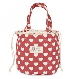 image of LARGE CAPACITY DRAW CORD CANVAS THERMOS BAG (COLORMIX) RED HEART AND WHITE HEART