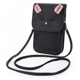image of MOUSE SHOULDER BAG PU LEATHER VERTICAL TYPE MINI PHONE POCKET FOR LADY VERTICAL