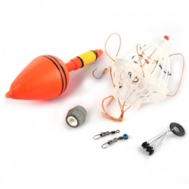 image of SILVER CARP FISHING FLOAT BOBBER WITH SIX HOOKS TACKLE SET (COLORMIX) -