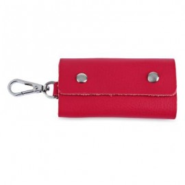 image of UNISEX CANDY COLORS SOFT LEATHER KEY CASE WITH SNAP HOOK (RED) -