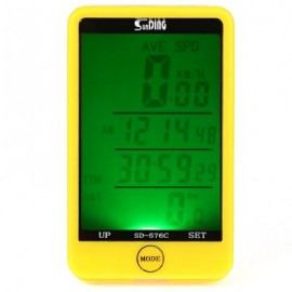 image of SUNDING SD - 576C WATER RESISTANT TOUCH SCREEN WIRELESS BIKE COMPUTER SPEEDOMETER WITH LCD BACKLIGHT (YELLOW)