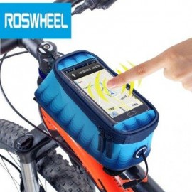 image of ROSWHEEL 4.8 INCH TOUCH SCREEN BICYCLE FRONT TUBE PHONE BAG HOLDER HANDLEBAR POUCH (DEEP BLUE) M