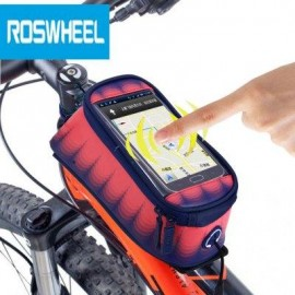 image of ROSWHEEL 4.8 INCH TOUCH SCREEN BICYCLE FRONT TUBE PHONE BAG HOLDER HANDLEBAR POUCH (BLUE AND PINK) M