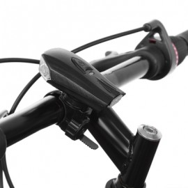 image of BICYCLE USB CHARGING WATERPROOF LED SMART SHOCK SENSOR LIGHT BIKE FRONT LAMP (BLACK)