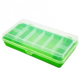 image of SQUARE WATERPROOF PLASTIC TACKLE FISHING LURE BOX (WHITE AND GREEN) 0