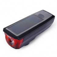 image of USB RECHARGEABLE SOLAR ENERGY BICYCLE FRONT LIGHT TAIL LAMP (BLACK) NO TAILLIGHT