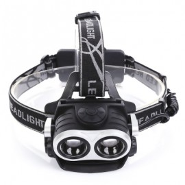 image of USB RECHARGEABLE BICYCLE HEAD WEAR LIGHT HEADLAMP FLASHLIGHT (BLACK)
