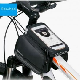 image of ROSWHEEL 5.5 INCH TOUCH SCREEN BICYCLE FRONT TUBE PHONE BAG HOLDER DOUBLE POUCH (BLACK) L