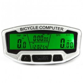 image of SUNDING SD - 558C OUTDOOR MULTIFUNCTION WATER RESISTANT CYCLING ODOMETER SPEEDOMETER WITH LCD BACKLIGHT (WHITE)