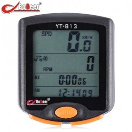 image of BOGEER YT - 813 OUTDOOR MULTIFUNCTION WATER RESISTANT CYCLING ODOMETER SPEEDOMETER (BLACK) WIRELESS
