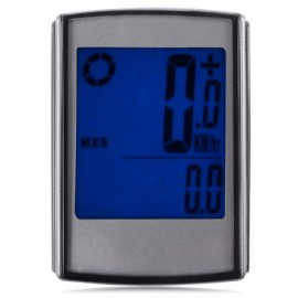image of WATER RESISTANT WIRELESS CYCLE COMPUTER SPEEDOMETER WITH LCD BACKLIGHT (SILVER)