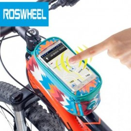 image of ROSWHEEL 4.8 INCH TOUCH SCREEN BICYCLE FRONT TUBE PHONE BAG HOLDER HANDLEBAR POUCH (AZURE) 18.5 x 8.5 x 8.5 cm
