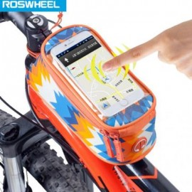 image of ROSWHEEL 4.8 INCH TOUCH SCREEN BICYCLE FRONT TUBE PHONE BAG HOLDER HANDLEBAR POUCH (ORANGE) 18.5 x 8.5 x 8.5 cm