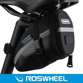 image of ROSWHEEL OUTDOOR CYCLING BIKE SADDLE BAG SEAT TAIL POUCH WITH VELCRO 18 x 10 x 5 cm