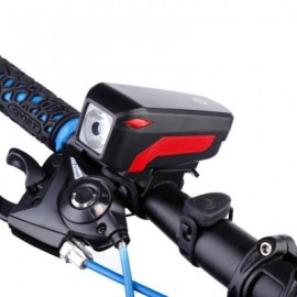 image of USB RECHARGEABLE WATERPROOF LOUD HORN BIKE HEADLIGHT (BLACK)
