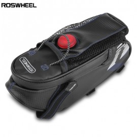 image of ROSWHEEL BICYCLE SADDLE SEAT BIKE REAR BAG WITH CYCLING LIGHT (BLACK AND GREY)
