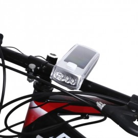 image of BIKE SOLAR USB RECHARGEABLE CYCLING BICYCLE 4 LEDS FRONT LIGHT HANDLEBAR LAMP WITH HORN (SILVER)