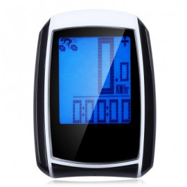 image of WATER RESISTANT WIRELESS BIKE COMPUTER SPEEDOMETER WITH LCD BACKLIGHT AUTO WAKE-UP (WHITE AND BLACK)