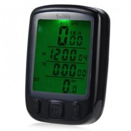 image of SD-563 WATERPROOF WIRELESS MULTI FUNCTION BIKE COMPUTER ODOMETER SPEEDOMETER WITH LCD BACKLIGHT (BLACK)