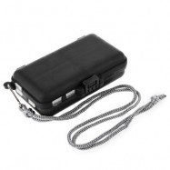 image of PORTABLE MINI 9 COMPARTMENTS PLASTIC FISHING TACKLE BOX FOR STORING SWIVELS HOOKS LURES (BLACK) -