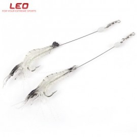 image of LEO 2PCS SHRIMP SHAPE FISHING BAIT STEEL WIRE WITH HOOK LUMINOUS SILICONE FISH LURE (COLORMIX) BLACK AND WHITE