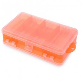 image of DOUBLE SIDED PLASTIC FISHING LURE HOOK TACKLE BOX 10 COMPARTMENTS (ORANGE) -