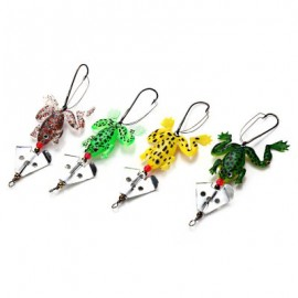image of 9CM FISHING LURE SOFT FROG SPINNER BAIT WITH OFFSET HOOK (COLORMIX) -