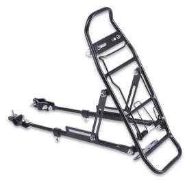 image of ALUMINUM ALLOY BICYCLE RACK CARRIER REAR LUGGAGE CYCLING SEAT SHELF FOR V-BRAKE BIKE (BLACK)