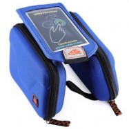 image of CBR B2 - 2 EVA OUTDOOR PORTABLE FRONT BEAM BAG TOUCH SCREEN POUCH FOR BIKE BICYCLE CYCLING (BLUE)
