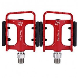 image of 2 PCS SETSAIL 921 DU BERING BIKE PEDALS WITH ANTI-SKID GEAR FRAME REFLECTIVE STRIPE (RED)