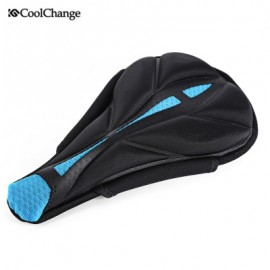 image of COOLCHANGE BREATHABLE BIKE CYCLING SADDLE SEAT CUSHION COVER (BLUE AND BLACK)