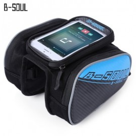 image of B - SOUL YA162 WATER RESISTANT OUTDOOR CYCLING MTB FRONT FRAME TUBE BAG WITH 5.5 INCH MOBILE PHONE CASE (BLUE)