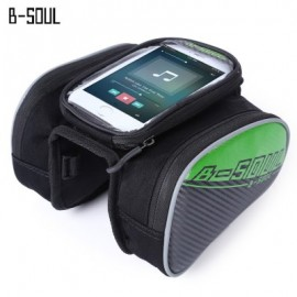 image of B - SOUL YA162 WATER RESISTANT OUTDOOR CYCLING MTB FRONT FRAME TUBE BAG WITH 5.5 INCH MOBILE PHONE CASE (GREEN)