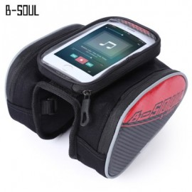 image of B - SOUL YA162 WATER RESISTANT OUTDOOR CYCLING MTB FRONT FRAME TUBE BAG WITH 5.5 INCH MOBILE PHONE CASE (RED)