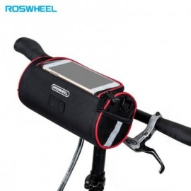image of ROSWHEEL 3L BICYCLE FRONT TUBE MAP BAG CYCLING POUCH (RED WITH BLACK)