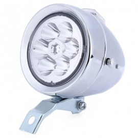 image of 6 LEDS VINTAGE BIKE HEADLIGHT WATERPROOF RETRO BICYCLE ACCESSORY (SILVER)