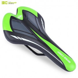 image of BASECAMP CYCLING BICYCLE MTB LEATHER RIDE CUSHION SEAT MAT SADDLE (BLACK AND GREEN)