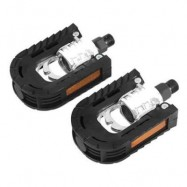 image of PAIRED ALUMINUM ALLOY BICYCLE MOUNTAIN BIKE NON-SLIP FOLDING PEDALS (BLACK)