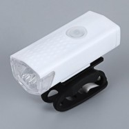 image of WATER RESISTANT RECHARGEABLE MOUNTAIN BIKE FRONT LIGHT WITH USB CHANGER FOR NIGHT CYCLING (WHITE)