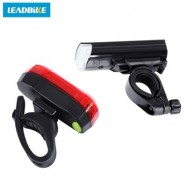 image of LEADBIKE BIKE BICYCLE WARNING SAFETY WATER RESISTANT FRONT TAIL LIGHT SET BIKE ACCESSORIES (RED WITH BLACK)