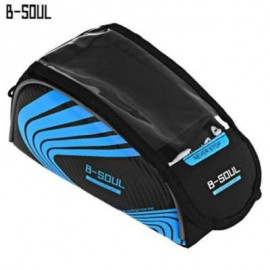 image of B-SOUL BICYCLE WATER RESISTANT REFLECTIVE STRIP MOUNT FOR 5.7 INCHES HANDLEBAR PHONE BAG (BLUE)