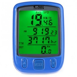 image of SUNDING SD - 563B OUTDOOR MULTIFUNCTION WATER RESISTANT CYCLING ODOMETER SPEEDOMETER LCD GREEN BACKLIGHT (BLUE)